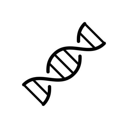 DNA structure icon. Linear molecule. Black cartoon illustration of gene, biology, evolution, genetics. Contour isolated emblem on white background