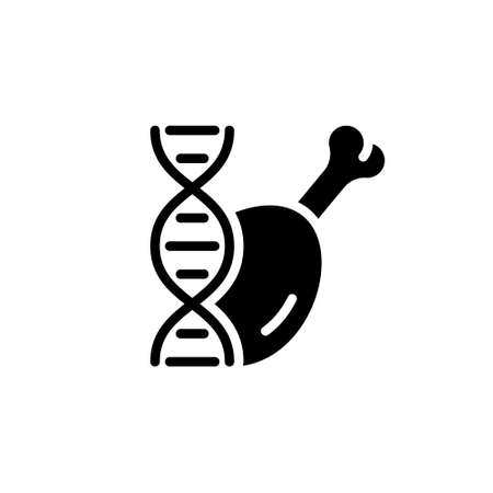 Silhouette chicken leg, DNA strand. Lab grown meat. Outline cultured poultry icon. Synthetic future food. Black simple illustration. Flat isolated on white background. Alternative to real meat Çizim
