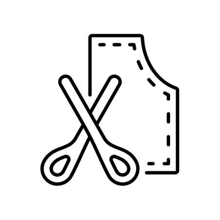 Tailor's pattern and scissors. Linear icon of clothes cutting, dressmaking. Black simple illustration of sewing studio, fitting dress according to figure. Contour isolated vector on white background
