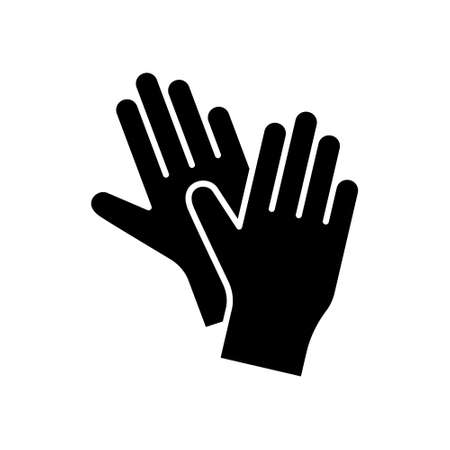 Silhouette Pair of latex gloves for packaging design. Outline icon of two hands. Black simple illustration of disposable medical protection against virus. Flat isolated vector image, white background