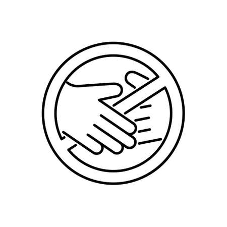 No touch emblem. Contactless delivery icon. Linear symbol of handshake ban. Contour isolated vector illustration on white background
