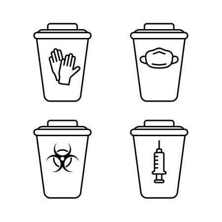 Set of medical waste containers. Special box for disinfection or utilization of disposable gloves, face mask, syringe, biohazard. Linear emblem of trash can with lid. Contour isolated vector icon