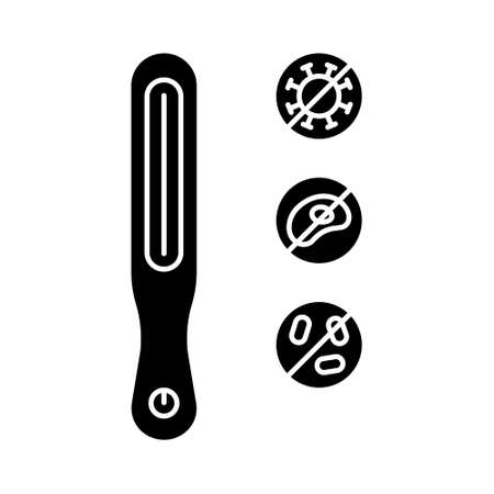 Silhouette icon, ultraviolet sterilizer and set of stop germs. Outline individual electric device for home use with uvc germicidal lamp. Disinfection against viruses, microbe, bacteria. Contour vector