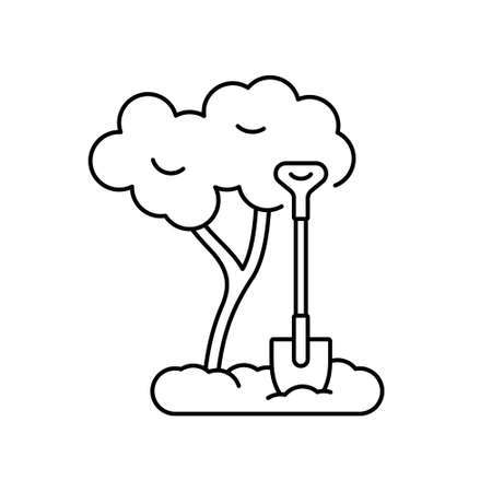Tree planting. Seedling in ground with stuck shovel. Contour icon of landscape gardening, loosening soil. Line art isolated vector illustration. Manual labor in fresh air. Community work day emblem