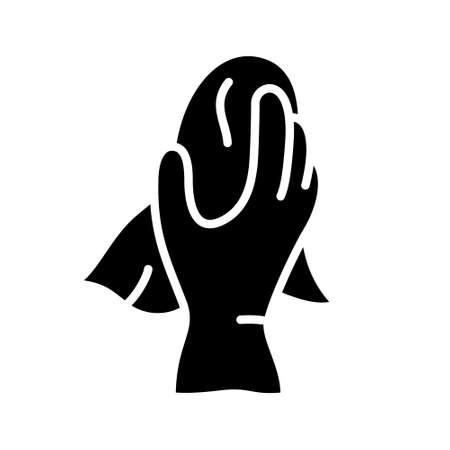 Silhouette Hand im Haushaltsgummihandschuh hält Lappen. Umrisssymbol von Waschstaub, Fenster, Möbel abwischen, Boden. Schwarze Illustration für Nasshausreinigung, Polieroberfläche. Flaches isoliertes Vektoremblem