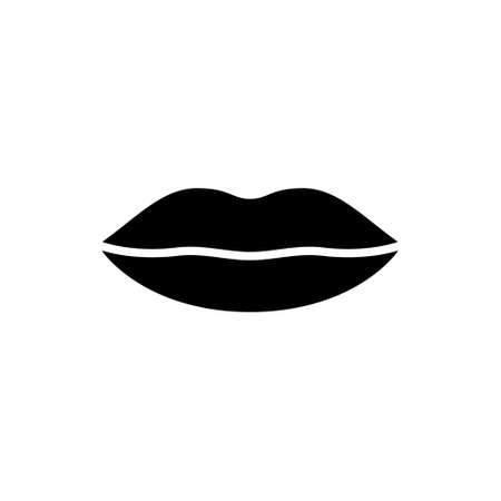 Silhouette plump female lips. Outline sexiness logo. Packaging beauty product icon. Black illustration for hygienic lipstick, gloss or lip balm, makeup. Flat isolated vector emblem, white background Иллюстрация