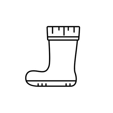 Rubber boot. Linear icon of autumn shoes for rainy weather, gardening, fishing. Black simple illustration of protection of feet from puddle, mud, bog. Contour isolated vector emblem, white background Illusztráció