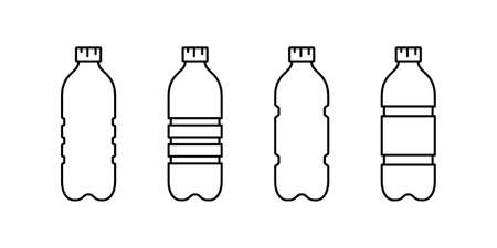 Plastic bottle icon set. Linear emblem of ribbed PET recycling packaging. Black simple illustration of tall container for water, liquid, oil. Contour isolated vector clipart on white background