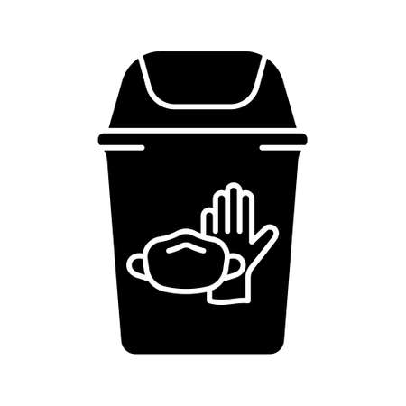 Silhouette of Trash can with latex glove, face mask. Disposal of medical supplies. Outline icon of special bin for throwing out used individual protective equipment in hospital, clinic. Flat vector