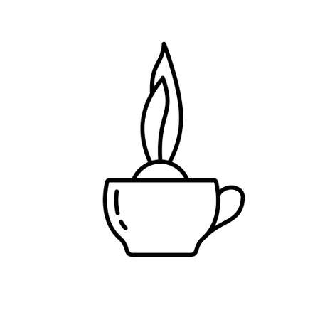 Onion plant in tea cup. Linear icon of growing bulb flowers in dish. Black simple illustration of cute home garden, seedlings in kitchen bowl. Contour isolated vector emblem, white background