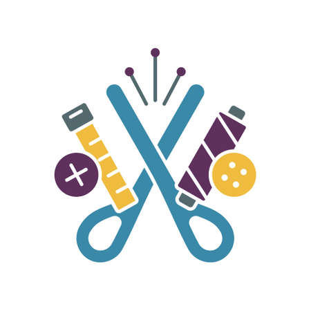 Sewing accessories, color silhouette emblem. Scissors, tailor centimeter, threads, buttons, pins. Graphic illustration for needlework shop. Outline handmade icon. Flat vector on white background