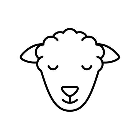Sheep or ram head. Linear livestock icon. Black simple illustration of kind of meat, muslim animal for sacrifice. Contour isolated vector emblem on white background