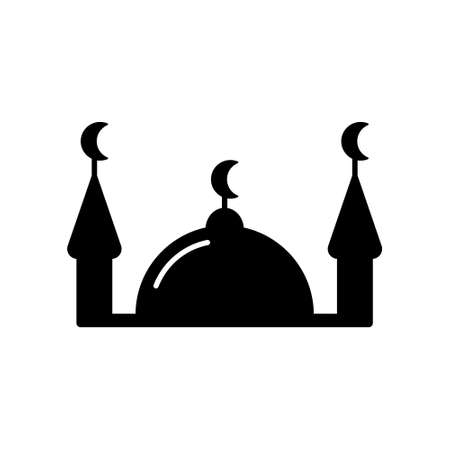 Silhouette Muslim mosque. Outline religious icon. Black simple illustration of islam, house for prayers with two. Flat isolated vector emblem on white background 向量圖像