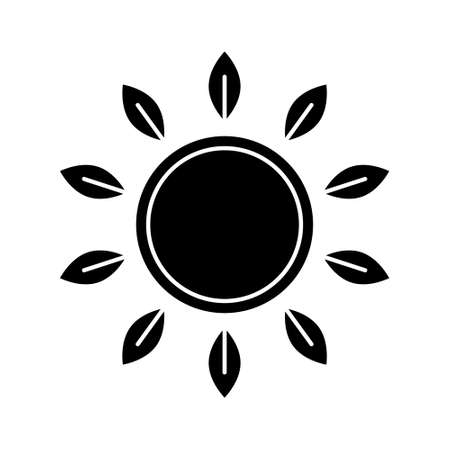Silhouette sun with leaves rays. Outline icon of flower. Ilustrace