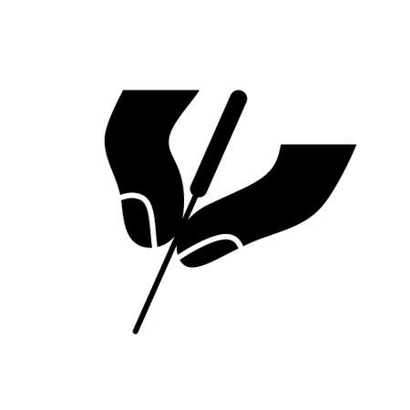 Silhouette Acupuncture icon. Outline icon of two fingers hold needle. Black simple illustration of alternative medicine and reflexology. Vettoriali