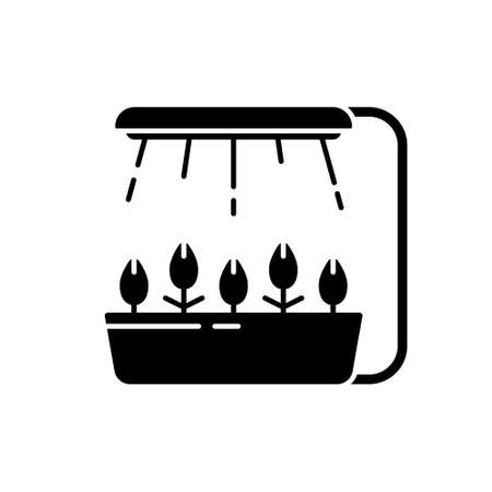 Silhouette Led grow light. Outline icon of hydroponics, phytolamp. Black illustration of farming. Pot with shoots and fixed lamp with rays of artificial light Illusztráció