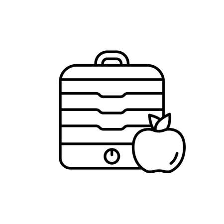 Fruit dryer with lid. Home appliances for preparing food for future use. Linear illustration of table dehydrator with apple. Contour isolated vector pictogram on white background