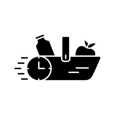 Silhouette Delivery of products concept. Food basket with stopwatch. Outline icon of grocery shopping. Black illustration of quick supply. Flat isolated vector emblem on white background