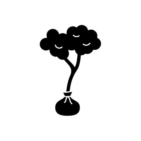 Silhouette tree seedling. Outline gardening icon. Black illustration of deciduous tree or bush with roots in bag, landscape design. Flat isolated vector, white background. Planting of greenery emblem Иллюстрация