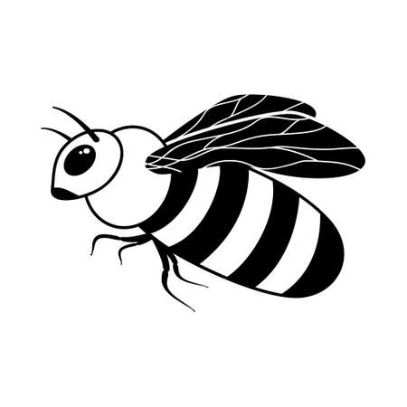 Bee or wasp icon. Black simple illustration of striped insect. Contour isolated   on white background. Cutout silhouette emblem Ilustrace