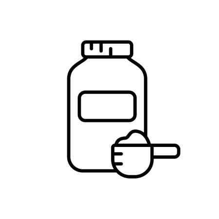Jar of sports nutrition and measuring spoon with dry powder. Line art icon of muscle building protein whey. Black simple illustration of fitness food. Contour isolated vector on white background  イラスト・ベクター素材