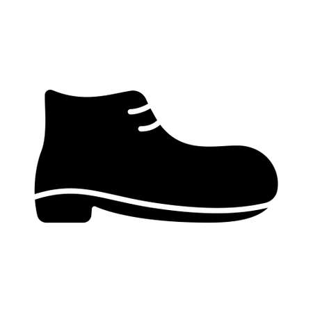 Outline  of men's shoes. Silhouette short lace-up boot icon. Black simple illustration of boot with heel and sole. Symbol of product category in store. Flat isolated vector on white background