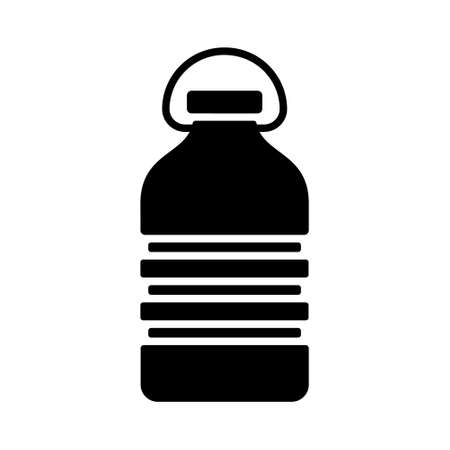 Cutout silhouette PET recycling bottle. Outline icon of rectangular corrugated plastic bottle with handle. Black illustration of package for water, liquid, oil, washer fluid. Flat isolated vector