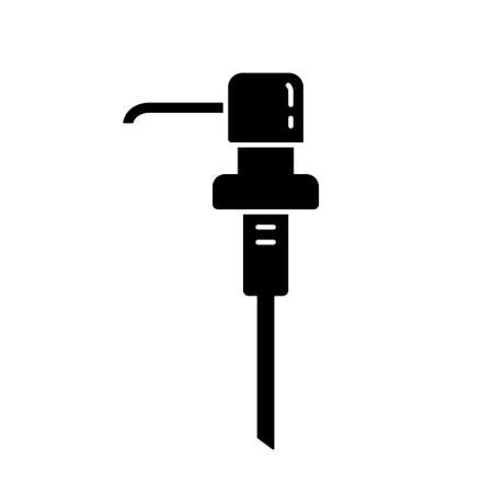 Silhouette of Hand wash dispenser pump with long spout. Outline icon of separate plastic tube for bottle with liquid, soap, gel, water. Black illustration. Flat isolated emblem on white background
