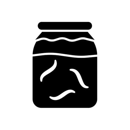 Cutout silhouette Glass jar with leeches or worms. Outline icon of hirudotherapy. Black simple illustration of alternative medicine or breeding leenches. Flat isolated vector image on white background