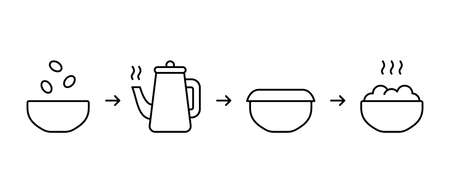 Brewing dry ingredients in bowl with boiling water. Instant food instruction. Process of cooking porridge, soup, cereal, oatmeal, puree. Linear icon for packaging. Black contour vector illustration