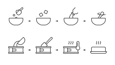 Baking mix instruction. Steps for cooking homemade biscuit, muffin, bread in oven. Dry powder, butter, milk, water, bowl, cake pan, spatula, spoon. Linear icons set. Black contour vector illustration  イラスト・ベクター素材