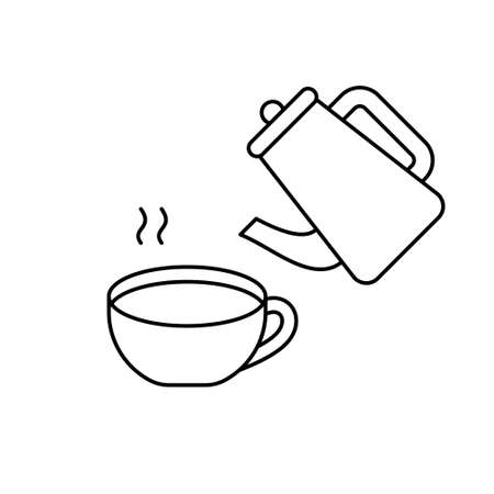 Teapot, steam, cup with hot water. Linear icons set for packaging tea, coffee, herbal collection. Black illustration of brewing, preparation of drink. Contour isolated vector, white background  イラスト・ベクター素材