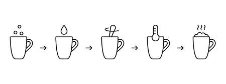 Mug cake instruction. Steps for making homemade cupcake in cup. Ready-made dry baking mix, milk or water, spoon, thermometer. Linear icons set. Cooking process. Black contour vector illustration