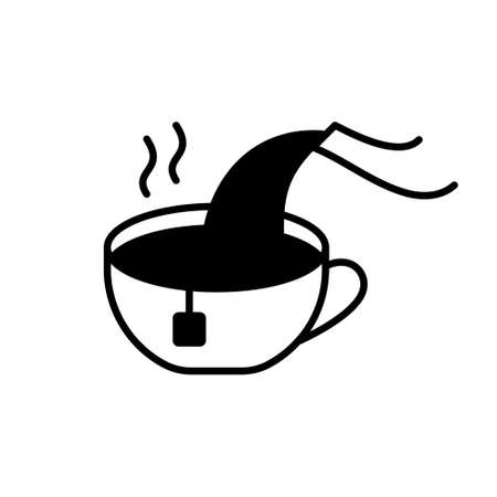 Cup with tea bag, pouring boiling water, teapot spout. Cutout silhouette icon for packaging design. Outline pictogram of brewing tea. Black simple illustration. Flat isolated vector, white background