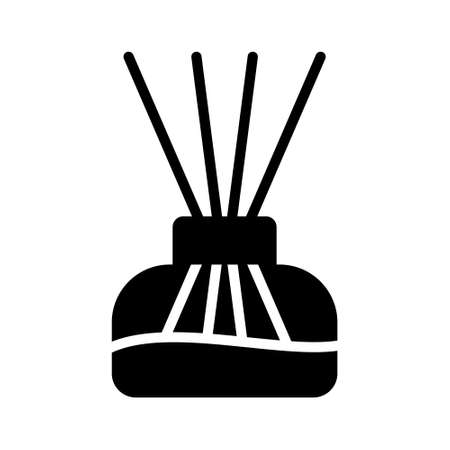 Aroma home silhouette diffuser. Outline icon of glass flask with oil and reed sticks. Black simple illustration of aromatherapy, interior decoration. Flat isolated vector pictogram, white background  イラスト・ベクター素材