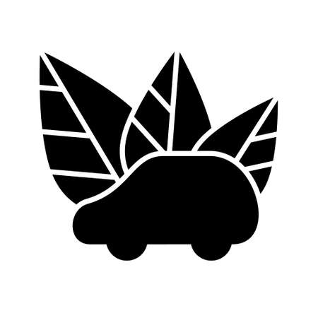 Eco car silhouette icon. Outline e-car logo. Black simple illustration of auto with leaves. Flat isolated vector pictogram, white background. Electric car emblem for nature conservation