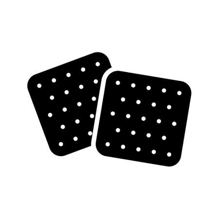 Two crackers silhouette icon. Outline icon of crisp snack, biscuit. Black illustration for package design, type of light food that is easy to take on go. Flat isolated vector on white background  イラスト・ベクター素材