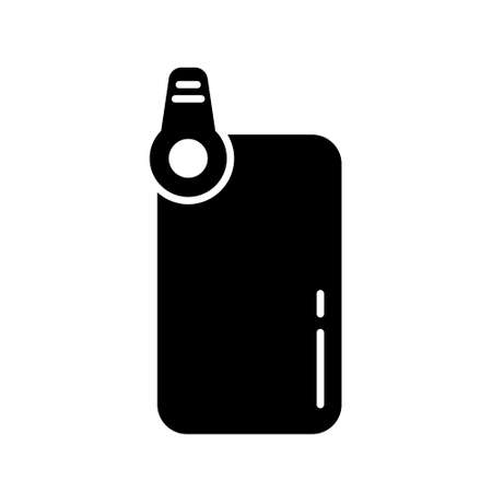 Silhouette Smartphone with clip-on lens. Use for macro and fisheye shooting. Black outline illustration of put on mini device on mobile camera. Flat isolated vector on white background  イラスト・ベクター素材