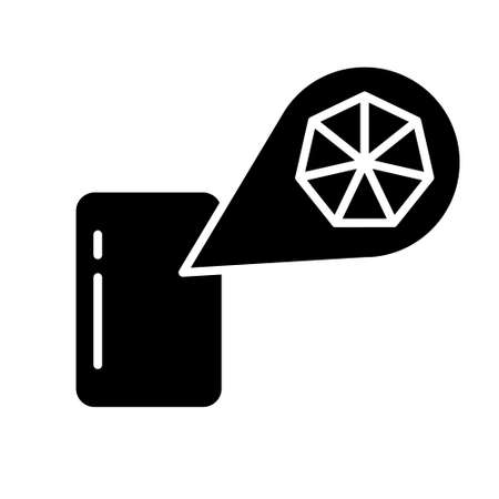 Silhouette piece of surface with macro increase of crystal structure. Outline icon of magnification. Illustration for plastic, rubber, metal, polymer products. Flat isolated vector on white background  イラスト・ベクター素材