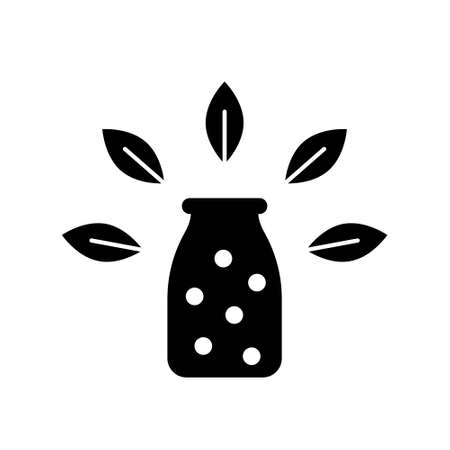 Silhouette Homeopathic balls in bottle with leaf decor. Outline icon of herbal medicines. Black illustration for natural cosmetics, food concept. Flat isolated vector pictogram, white background