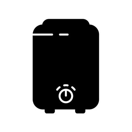 Boiler silhouette icon. Outline logo of electric device for heating water with switch and two outputs. Black illustration of home heater or stove. Flat isolated vector pictogram, white background