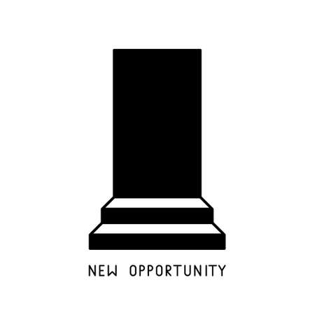 Staircase with doorway. New opportunity lettering. Opening concept. Black and white illustration of unknown, discovery, progress, business success. Door and steps. Minimalistic isolated vector image  イラスト・ベクター素材