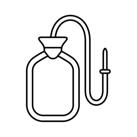 Enema water bag. Linear icon of rubber bottle. Black simple illustration of medical tool for cleansing and washing stomach and intestines. Contour isolated vector image on white background