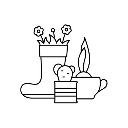 Flowers in tin can, rubber boot, tea cup. Linear icon of decorative gardening. Black illustration of upcycling, creative reuse of old things, growing home plants. Contour vector, white background