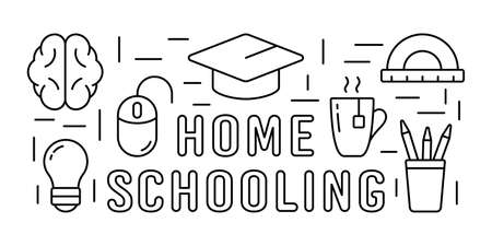 Home schooling horizontal rectangular banner. Self-study online education concept. Graduation cap, brain, cup, light bulb, pc mouse. Line art poster template. Contour isolated vector icons set, text