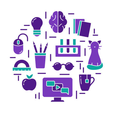 Distance study by internet and modern computer technology. Elearning concept. Home online education illustration. Color round poster with isolated icons. Flat silhouette vector print, white background  イラスト・ベクター素材