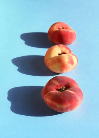 Ripe flat peaches on blue background. Summer fresh fuzzy fruit, natural farm harvest. Donut peach or Saturn peach. Diet vegan concept. Hard sunlight trend, long shadow, vertical photo 写真素材