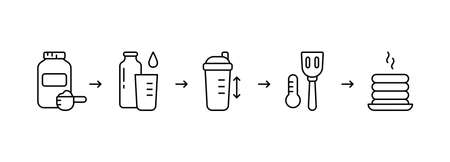 Protein pancake mix instruction. Steps for making fried pancakes or waffles with adding water, milk in shaker. Sport healthy food. Linear icons set. Cooking process. Black contour vector illustration  イラスト・ベクター素材