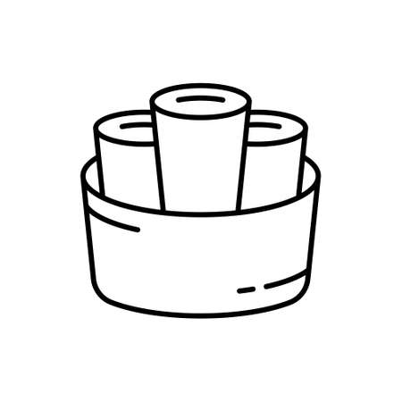 Thai Rolled Ice Cream. Linear icon of stir-fried ice cream. Black simple illustration of three dessert rolls in round basket. Contour isolated vector logo on white background