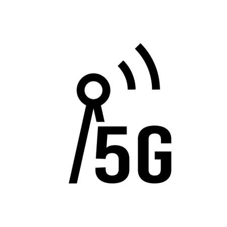 5G icon. Linear symbol of high speed internet. Black simple illustration of tower with signal and sign 5g. Wireless technology. Silhouette isolated vector emblem, white background